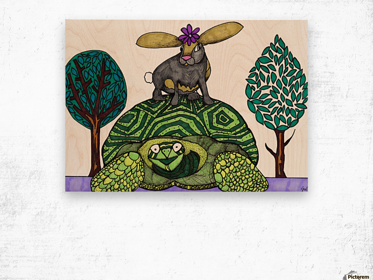 tortoise and hare Wood print