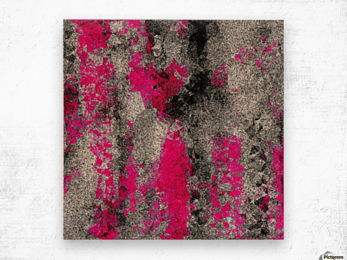 vintage psychedelic painting texture abstract in pink and black with noise and grain Wood print