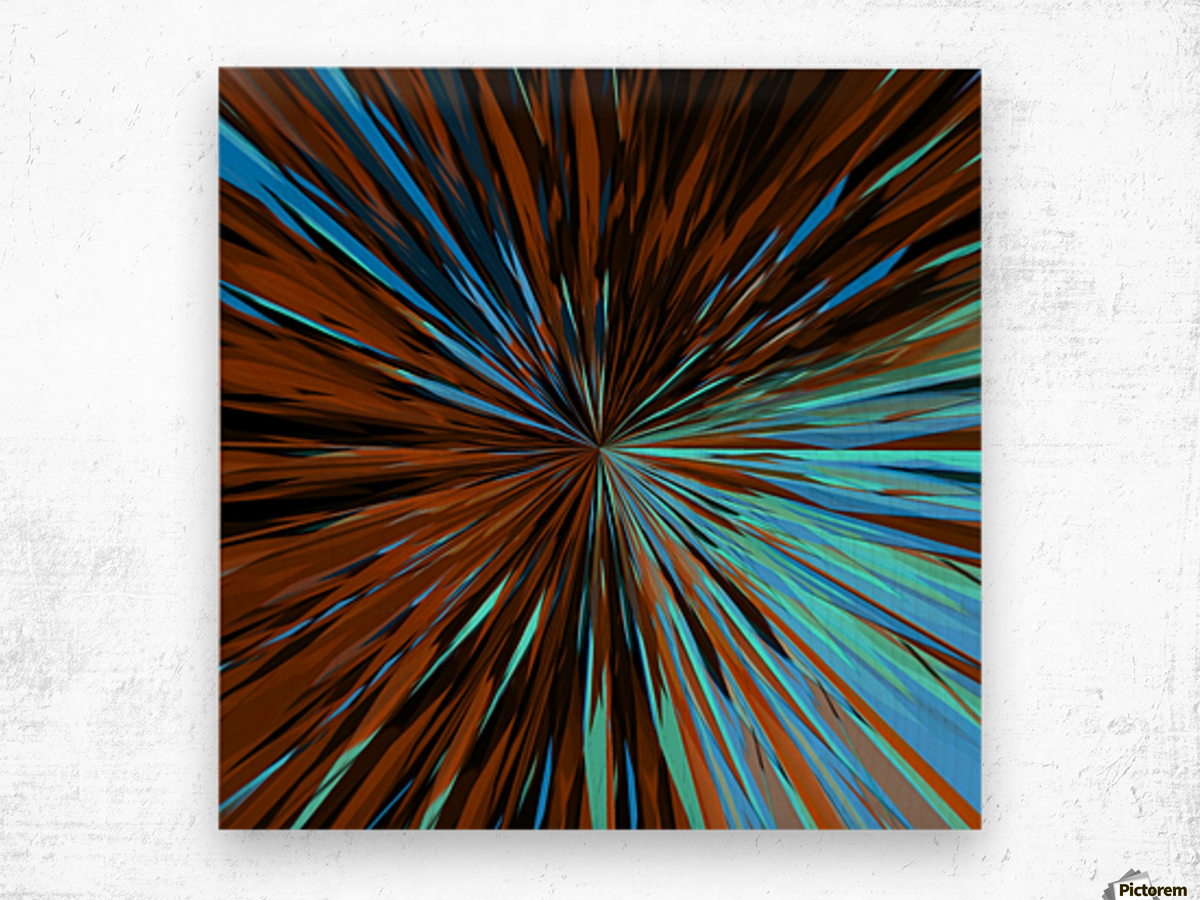 psychedelic splash painting abstract pattern in brown and blue Wood print