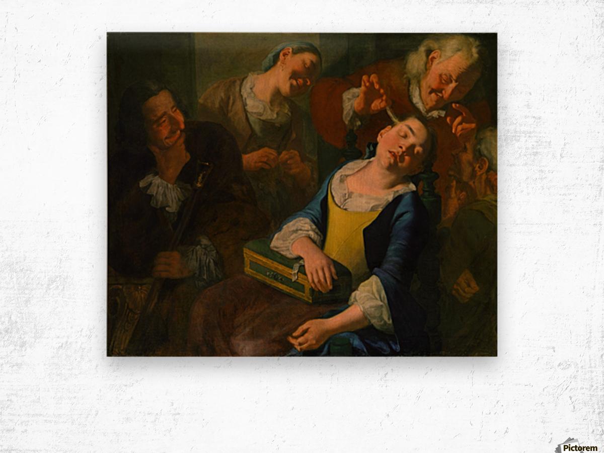 Teasing a sleeping girl Impression sur bois